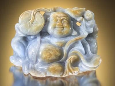 Carved Blue Jadeite Buddha