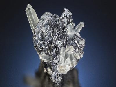 Terminated colorless quartz crystals perched on metallic galena