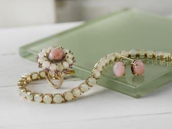 pink opal ring & tennis bracelet
