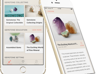 Mobile phone displaying Gemstone Discovery App